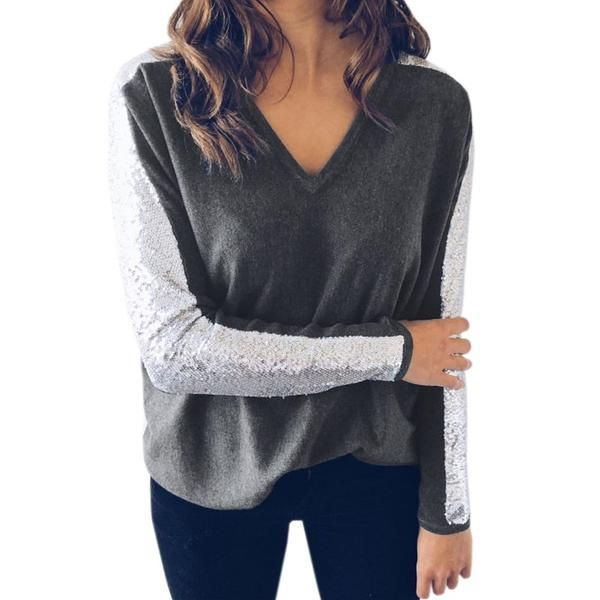 9792356a75ddd Spring Sexy Women T Shirts Pullovers Jumpers Femme Tops Casual T-Shirts  Sequined Sleeve Shirts