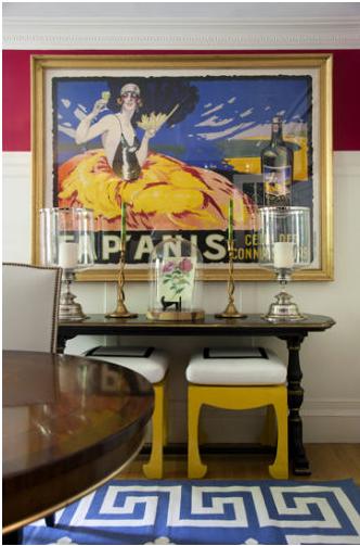 Liz Caan    Greek Key rug, chinoiserie stools, entry table, large print
