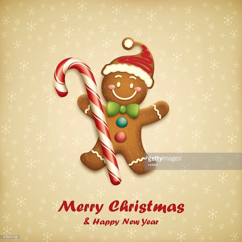 Cartoon Illustration Of Gingerbread Man With Candy Christmas Gingerbread Men Gingerbread Man Christmas Vinyl