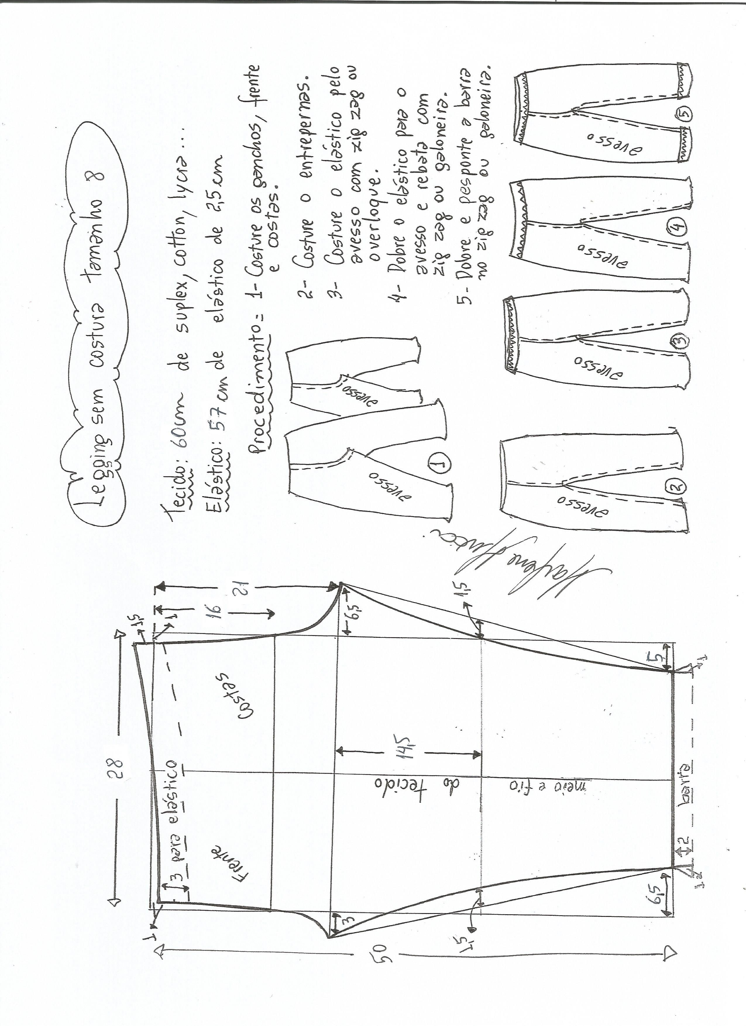 51a358c319 Patrón para confeccionar leggins infantiles. Tallas desde 6 meses hasta 16  años.