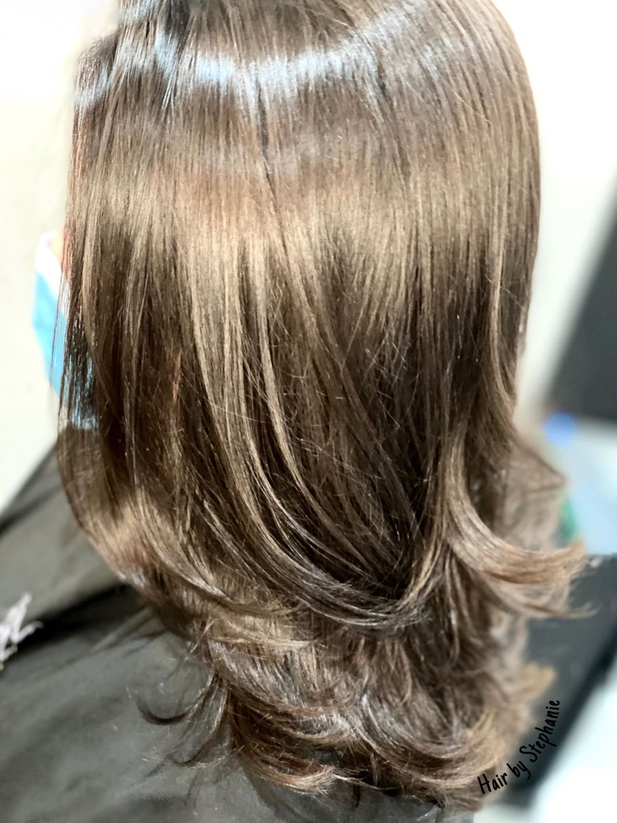 Beautiful shine while using #shadeseq NEW 04aBn #brunetteshair #glasshair #colormelt