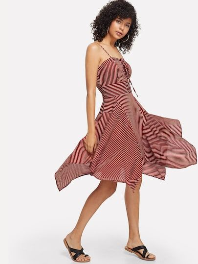 15797a6cbc Eyelet Lace Up Front Hanky Hem Striped Cami Dress | New In Dresses ...