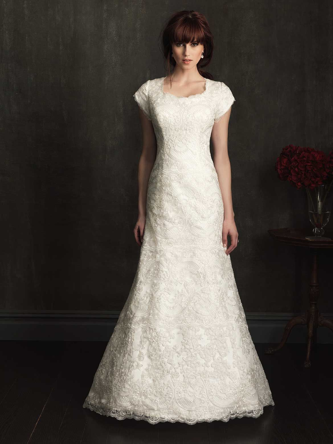 Modest lace wedding dresses modest wedding dress for Lace dresses for weddings