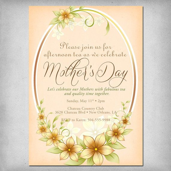 Printable Mother S Day Tea Party Invitation By Zoemariestudio