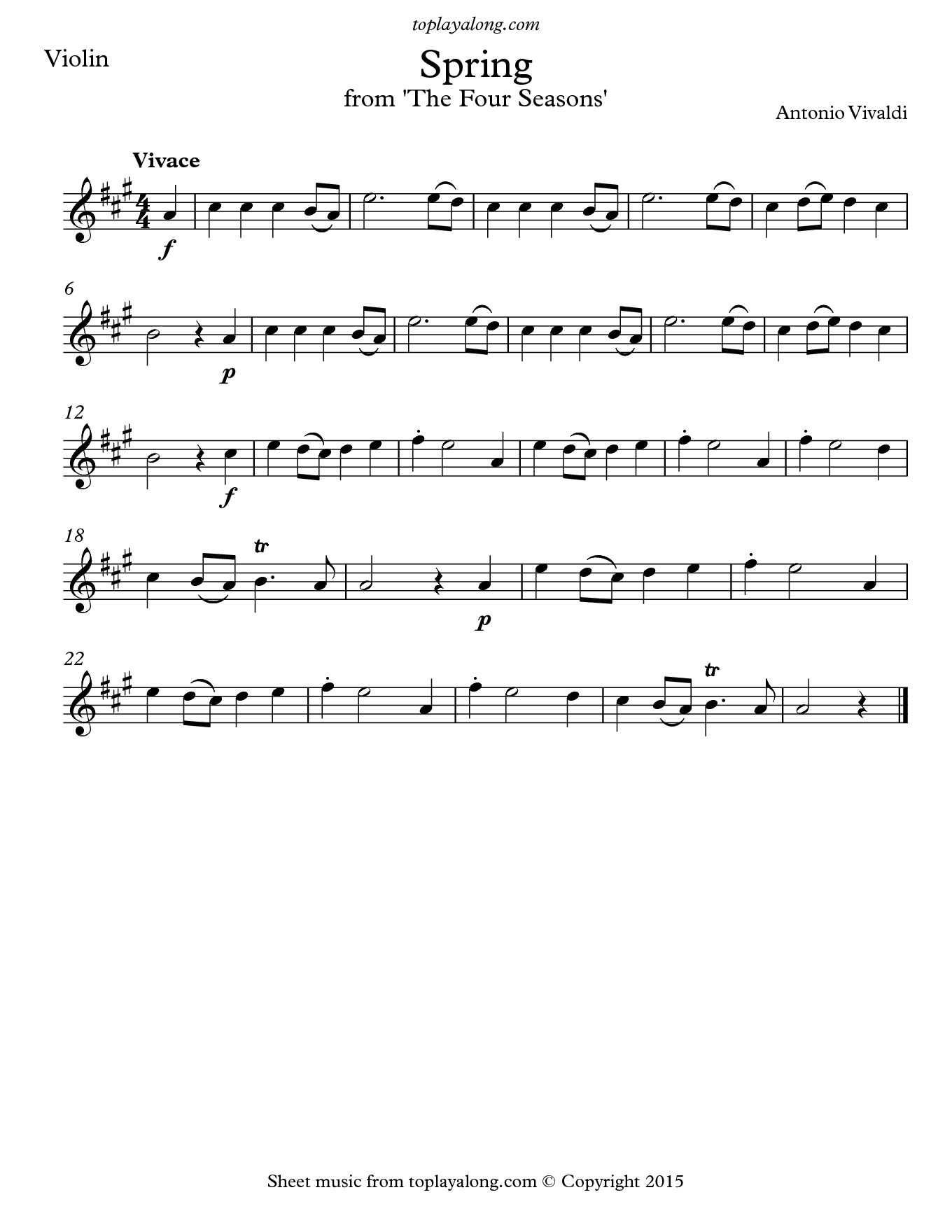 Spring From The Four Seasons By Vivaldi Free Sheet Music