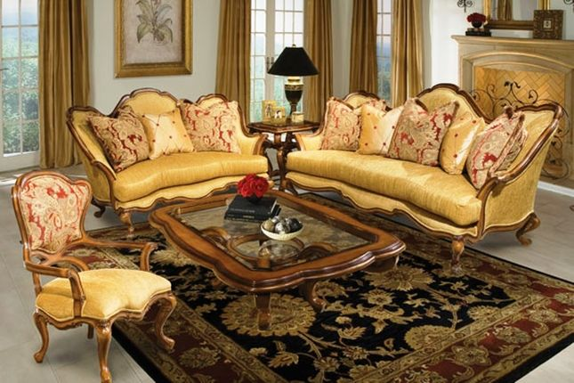 Nicolina Goldenrod Traditional Formal Antique Style Sofa Set French Country Living Room Victorian Living Room Luxury Living Room Design