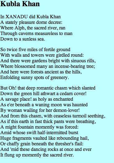 Kubla Khan, Samuel Taylor Coleridge (Poetry Criticism) - Essay
