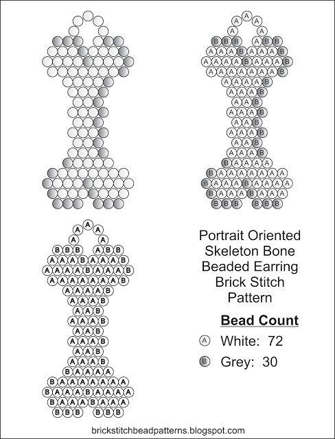 Brick Stitch Bead Patterns Journal: Skeleton Bone Free Brick Stitch ...