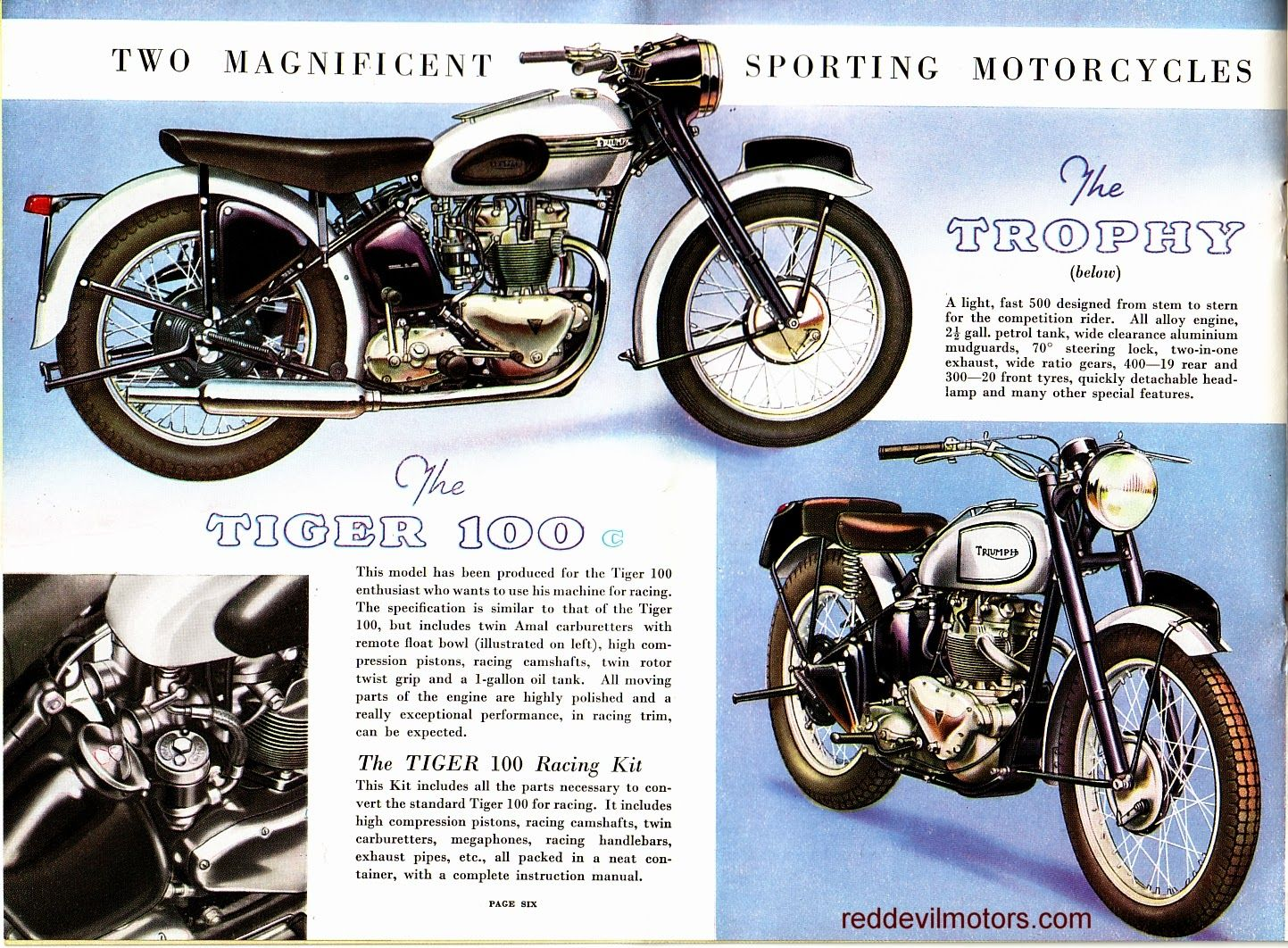 Vincent motorcycle brochure 1952 front cover - Red Devil Motors Triumph Motorcycles Brochure 1952