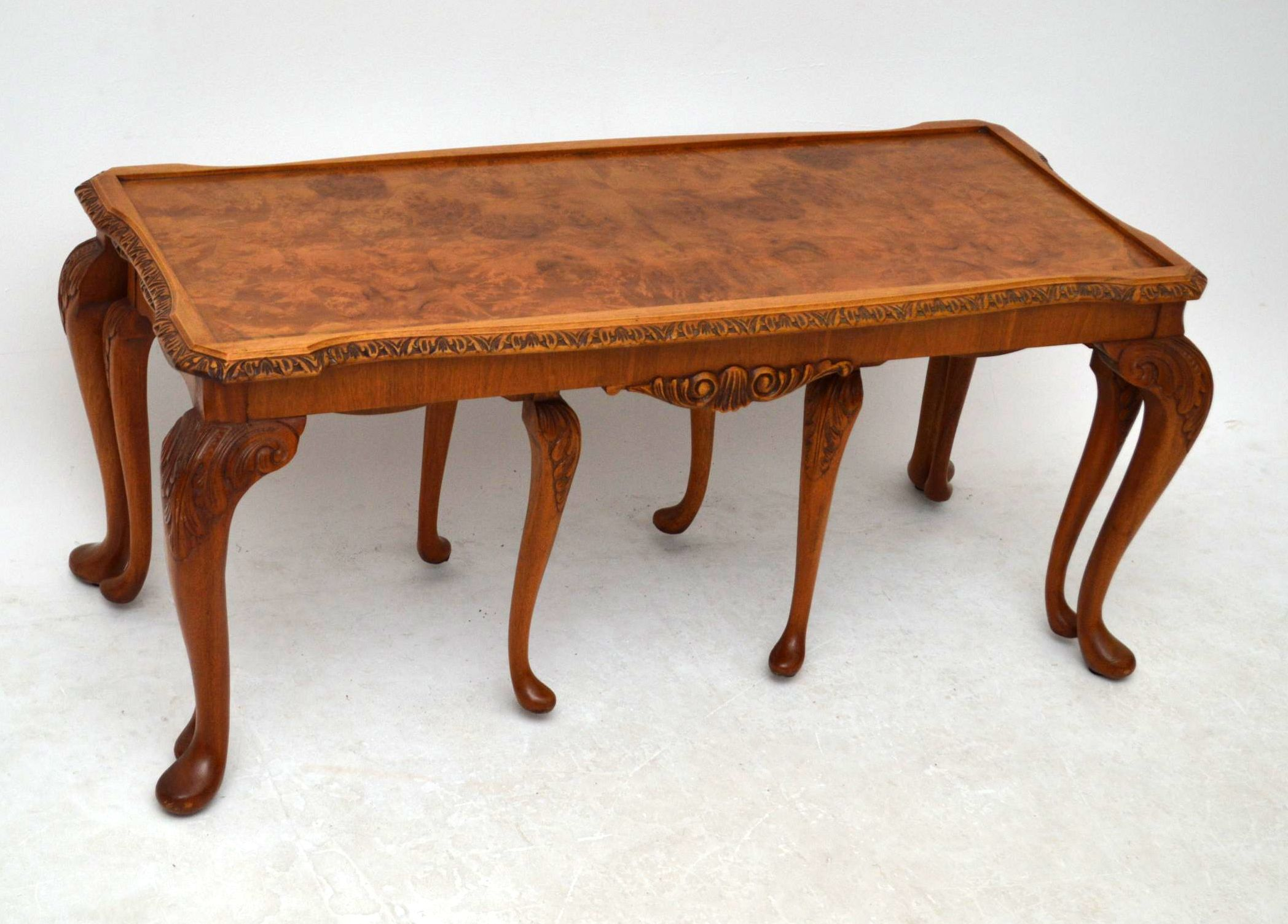 Antique Queen Anne Style Burr Walnut Nesting Coffee Table