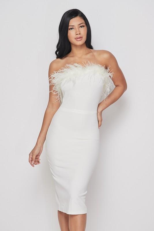 White Feather Strapless Midi Dress White Feather Dress Dresses Strapless Midi Dress