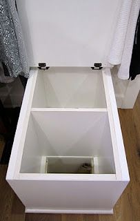 Depending on where the laundry room ends up, this a great idea: little bench in master closet is actually a laundry chute