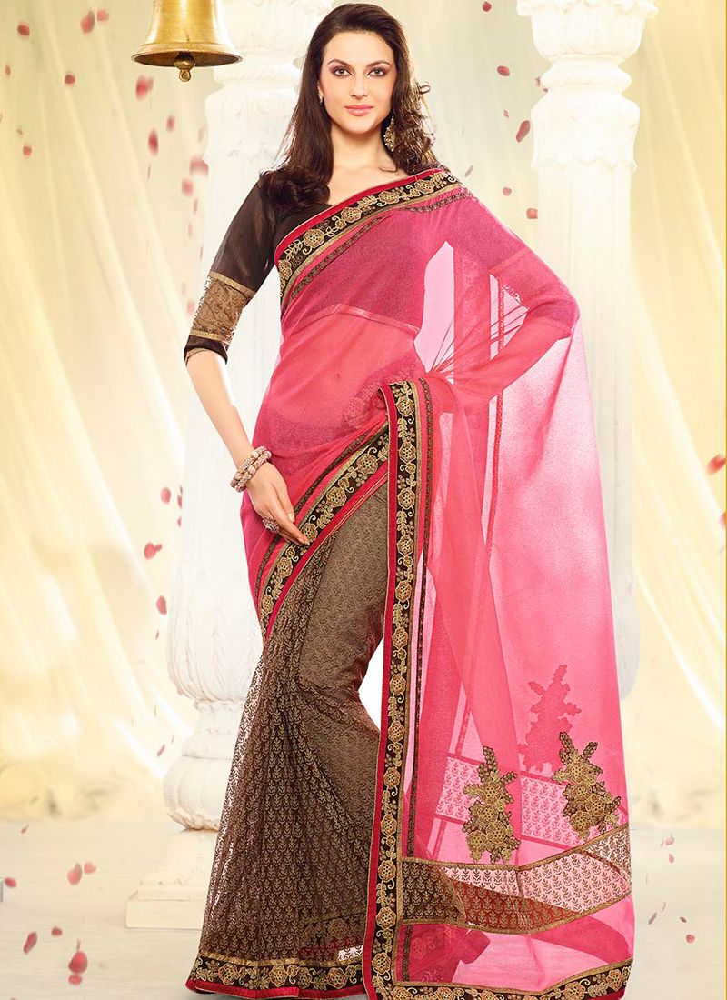 Groovy Net Brown and Pink Designer Saree www.ethnicoutfits.com Email : support@ethnicoutfits.com What's app : +918141377746 Call : +918140714515