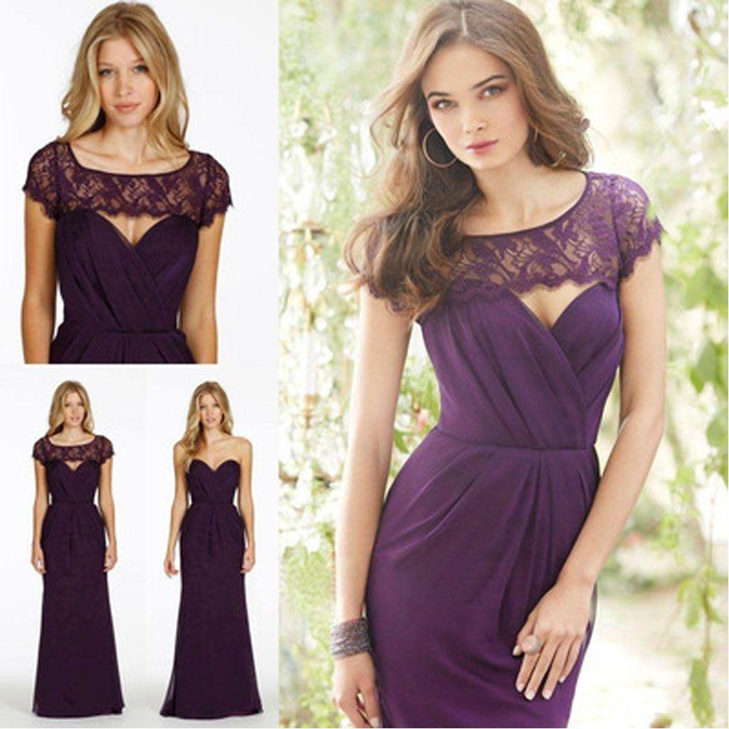 Lace chiffon bridesmaid dress sweet heart backless bridesmaid dress