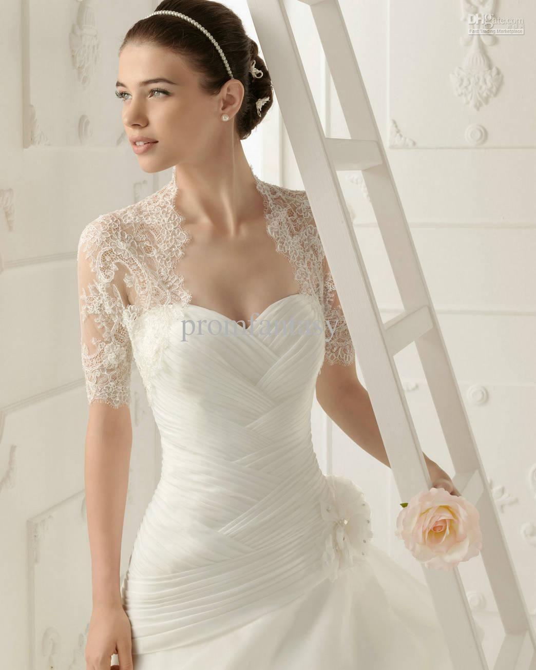 Wholesale 2013 Custom New Elegant Short Sleeves White Lace Bolero