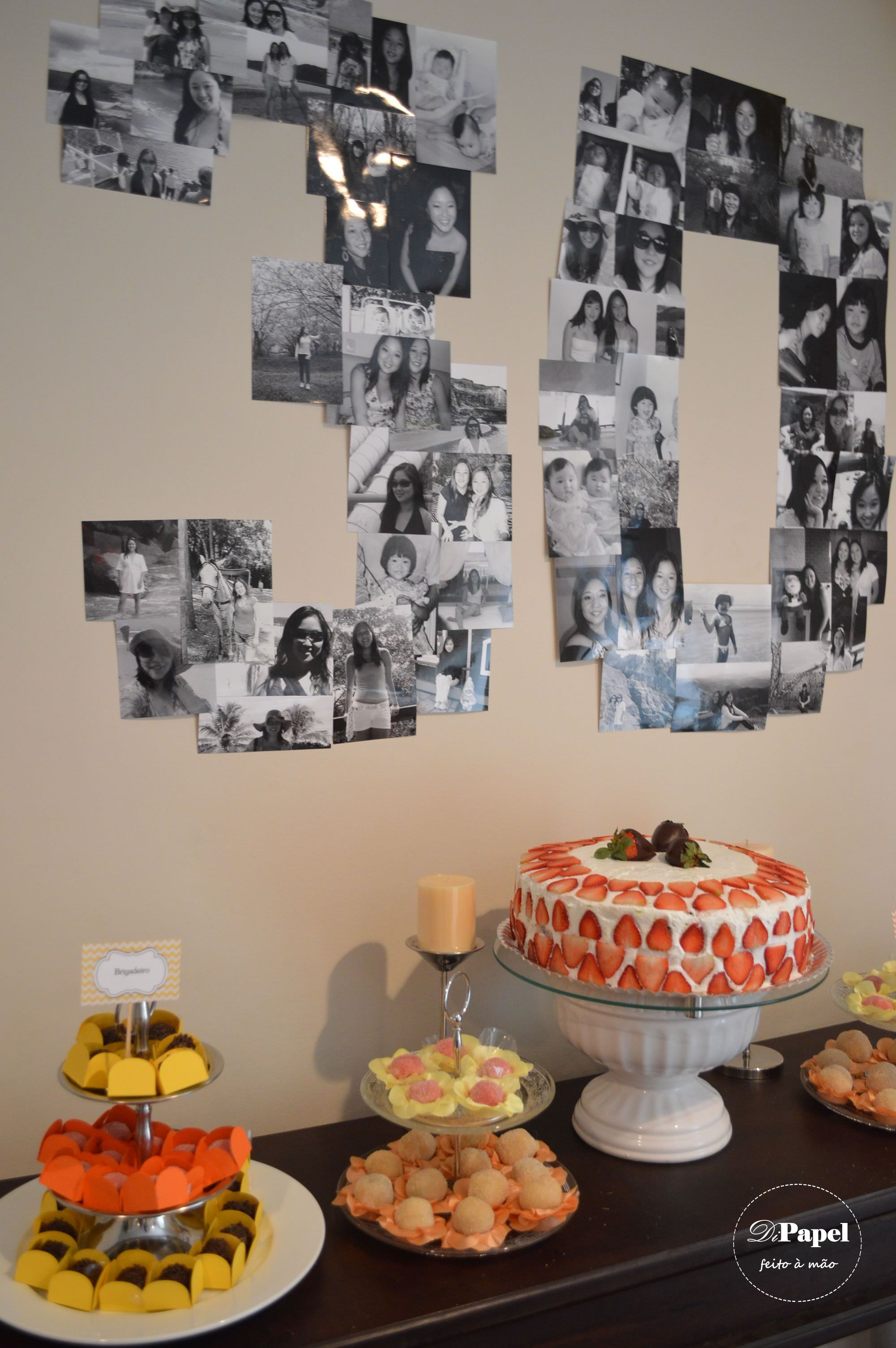 Twins 30th Birthday Party  always love a photo number collage looks good in black  white