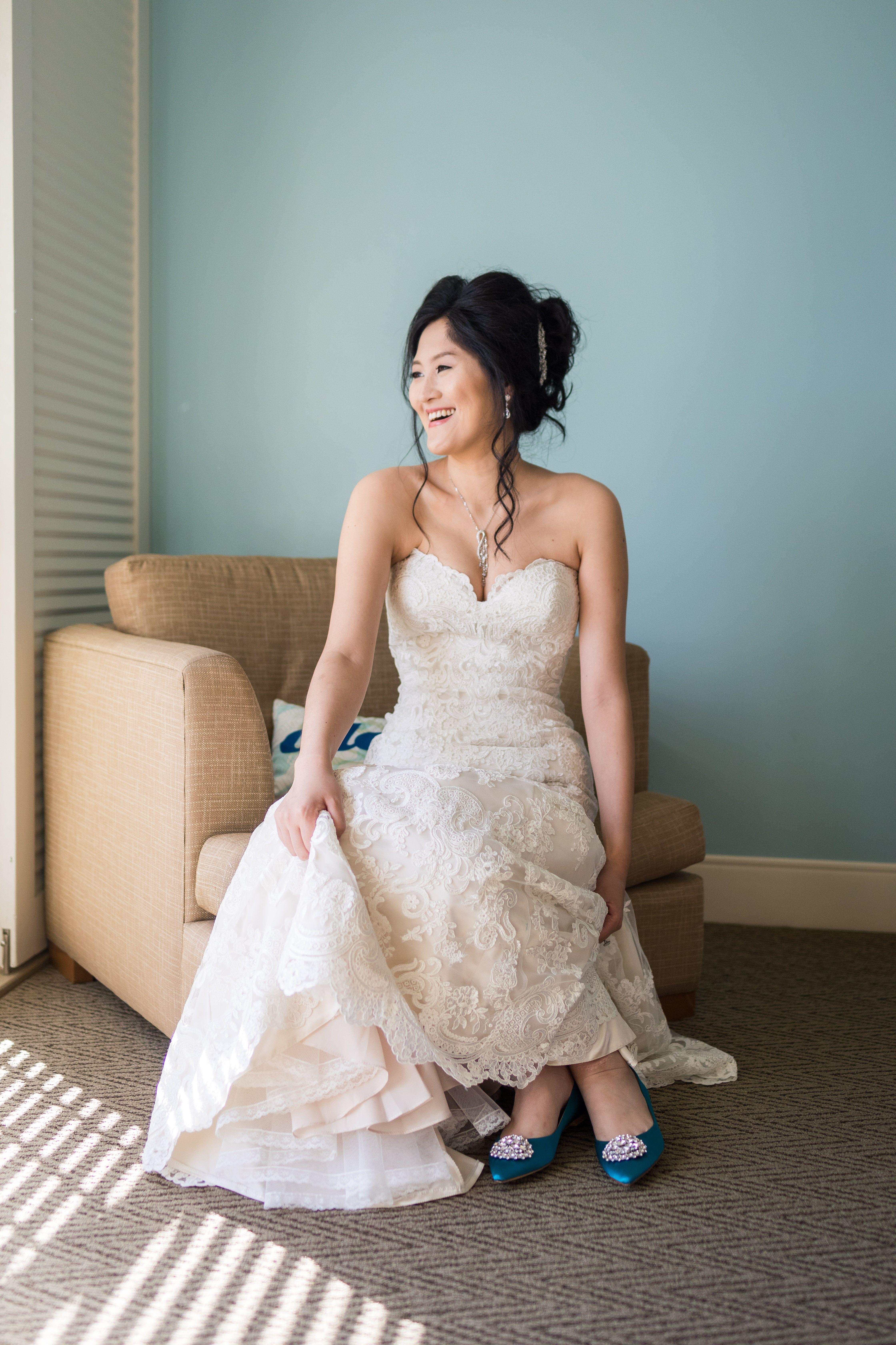 Stunning bridal portrait from wedding morning in hotel room. Bride ...