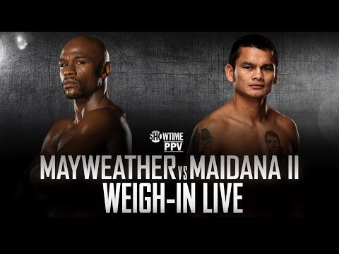 Mayhem Mayweather Vs Marcos Maidana 2 Official Weigh In From Las Vegas Video The Pugilist Report Showtime Weigh Pugilist
