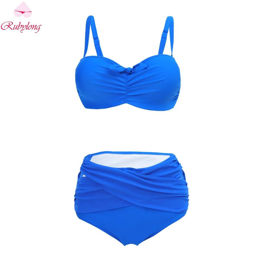 18.89$  Watch here - Rubylong 2017 New Sexy Fold Bikini Women High Waist Swimwear Lady Strappy Bandeau Bikini Set Bathing Suit Plus Size Biquini  #buymethat