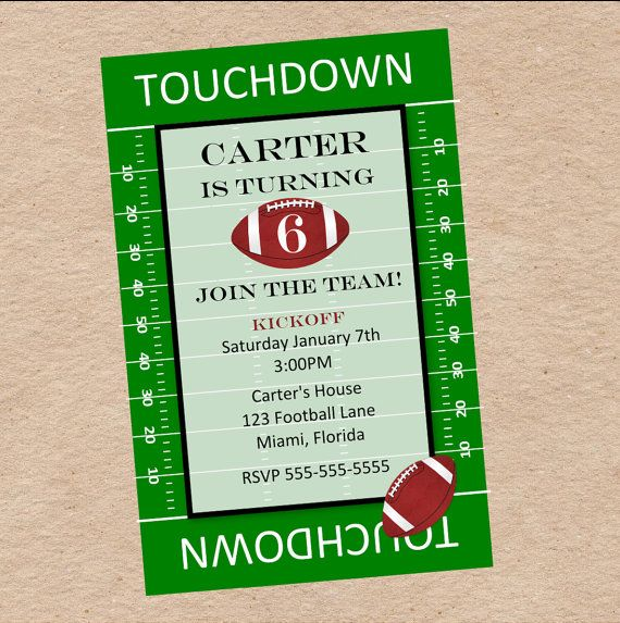 Football Party Invitation Birthday Tailgate or Superbowl Party