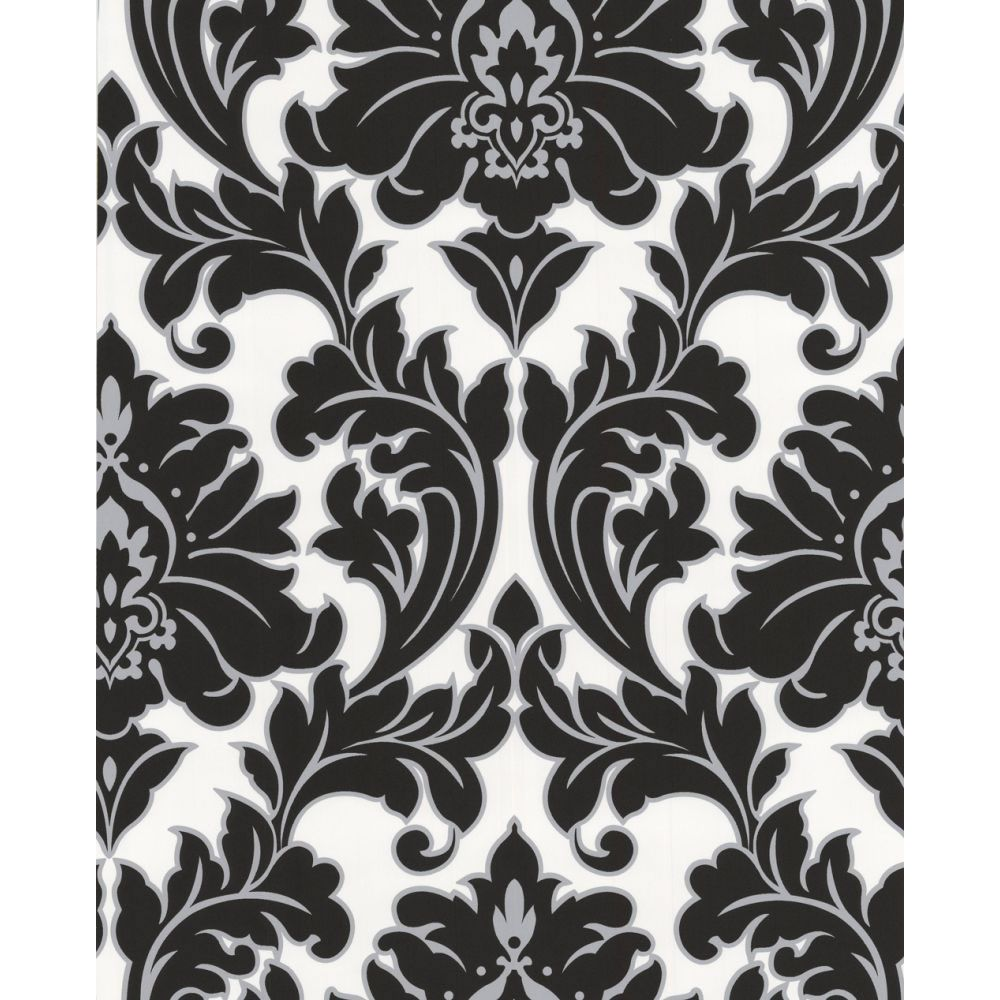 Majestic Black/White (With images) Grey damask wallpaper