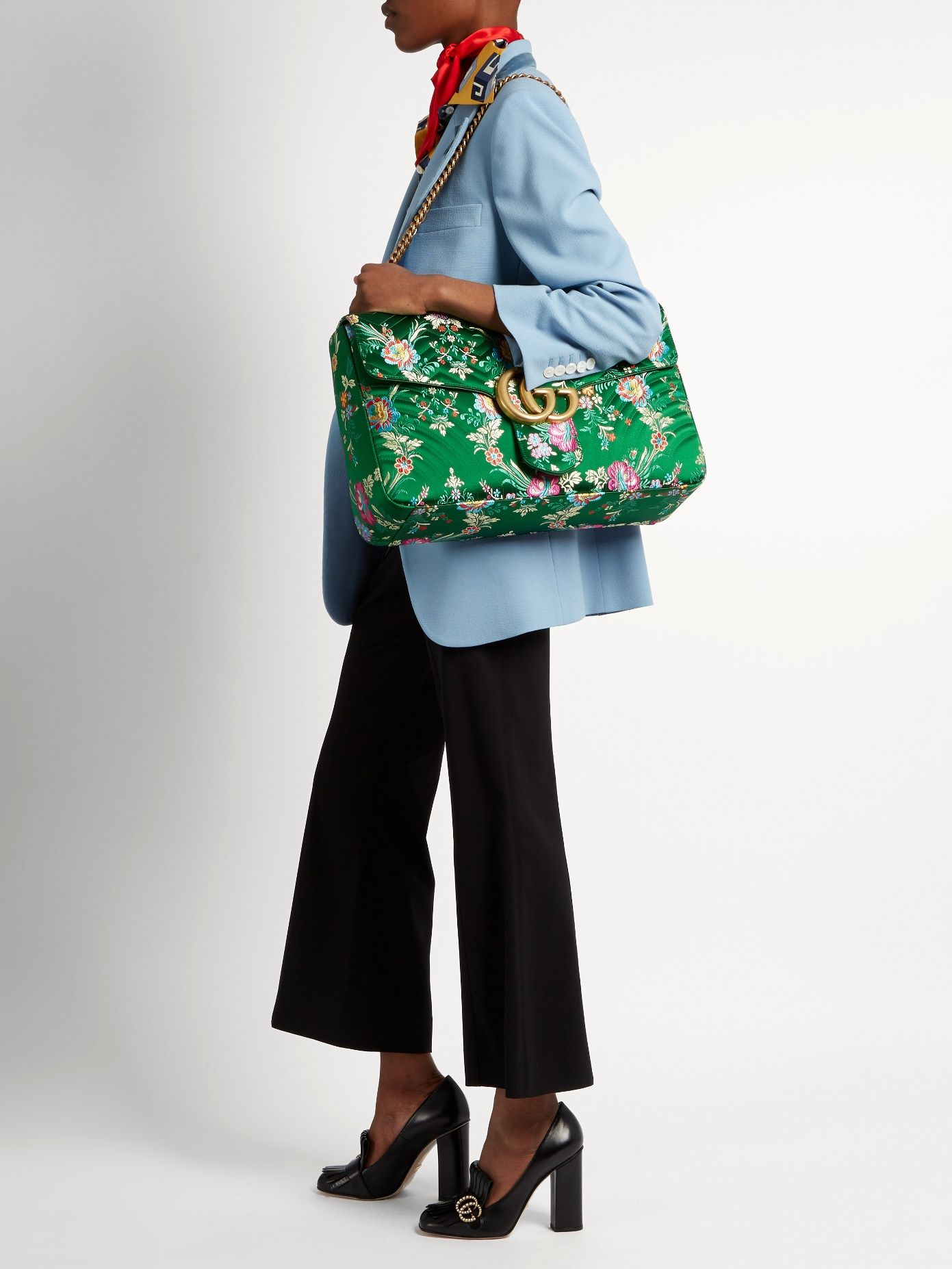 b146f570e325 GG Marmont maxi floral-jacquard shoulder bag   Gucci   MATCHESFASHION.COM