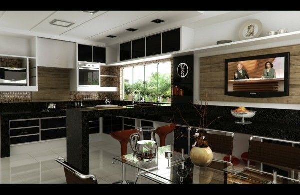 cocina moderna lujosa color negro Diseos para casas