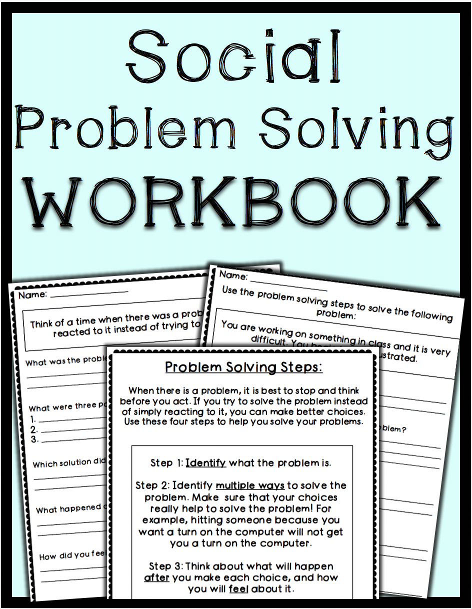 Worksheets Social Problem Solving Worksheets social problem solving worksheets counselorchelsey on tpt workbook teaches students a 4 step process to problems instead of just reacting includes 15 role play scenario