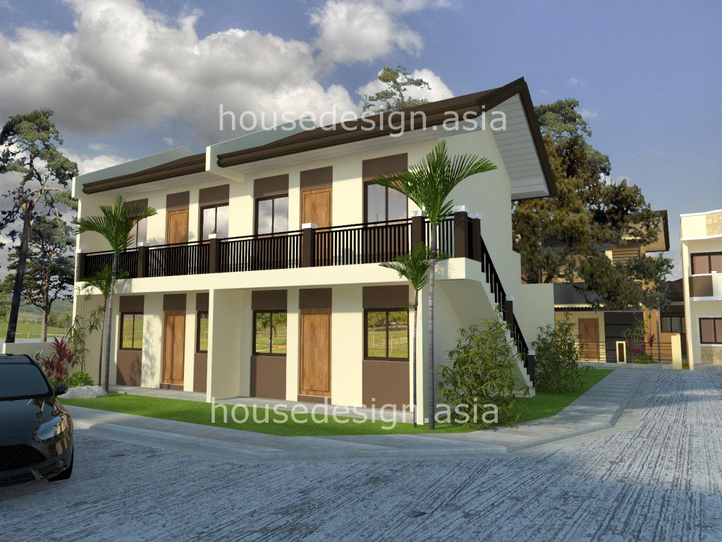 Two story apartment with 4 units rustic modern for Small apartment building designs