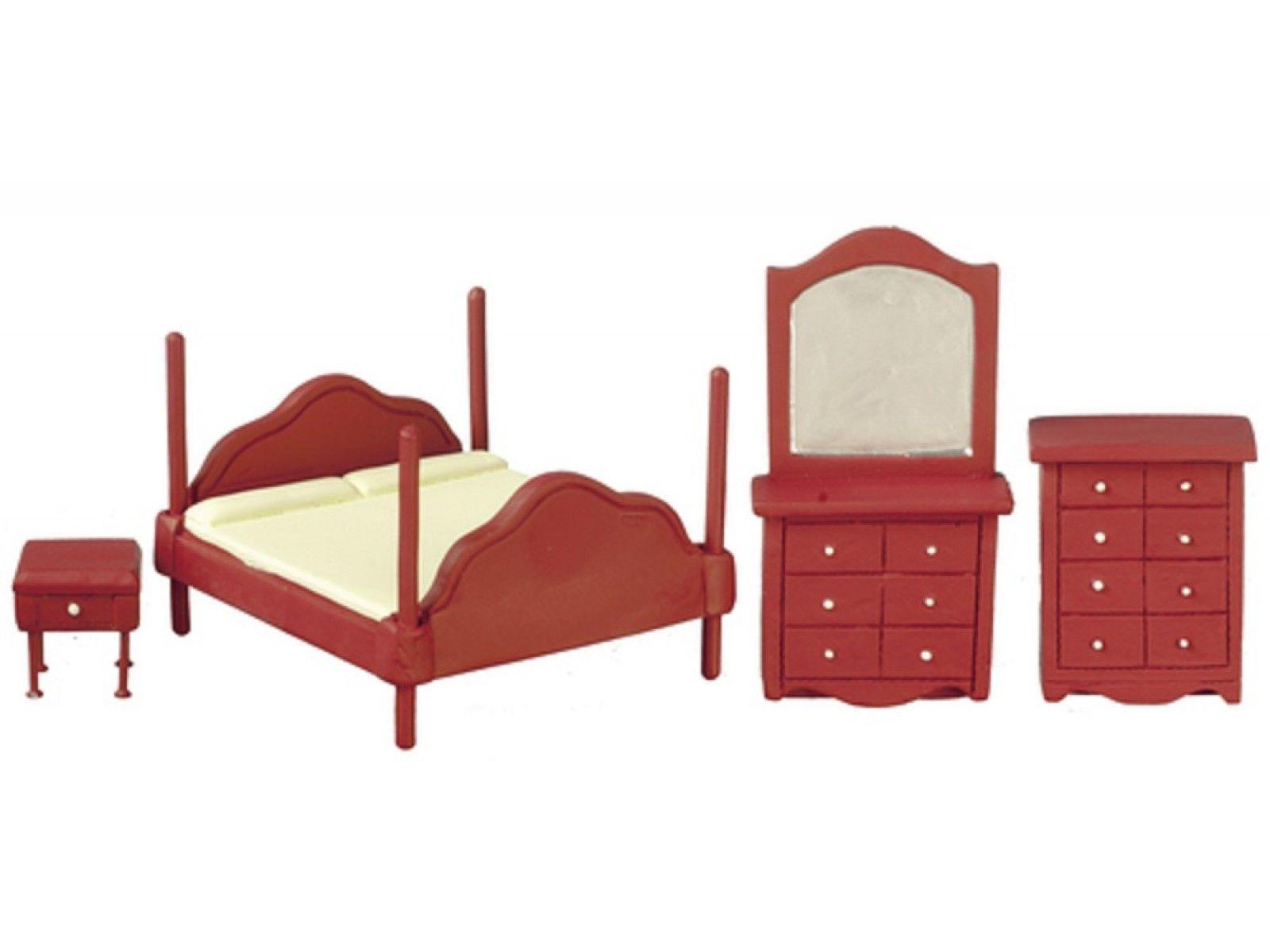 Dolls House Bedroom Furniture Set Suite 1:24 Half Inch Scale
