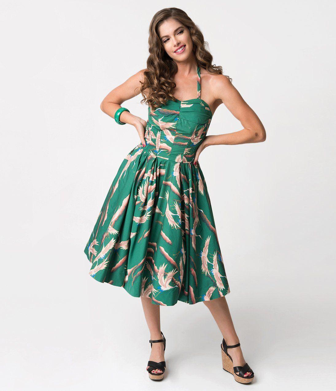 Alfred Shaheen Green Cranes Print Hawaiian Swing Dress Unique Vintage Swing Dress Dresses Short Dresses