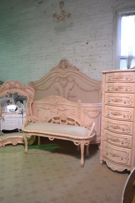 French Bed Painted Cottage Shabby Chic French Romantic Princess Bed Queen / King Bed Paris Pink Bedroom Collection