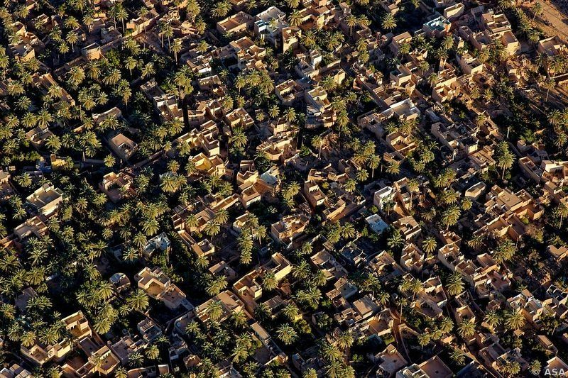 The Fortified Towns of M'Zab Valley. Aerial view of orchards and gardens upstream from Ghardaia.
