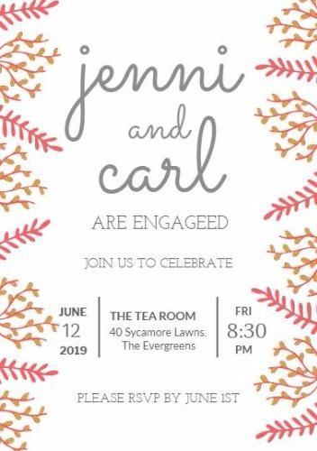 engagement party invitation template on white background with - engagement party invitation template
