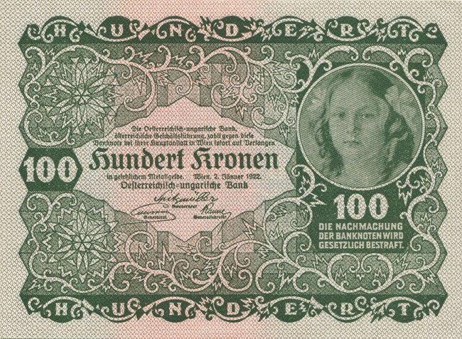 100 Kronen 1922 Osterreichisch Ungarische Bank Krone Note Bank