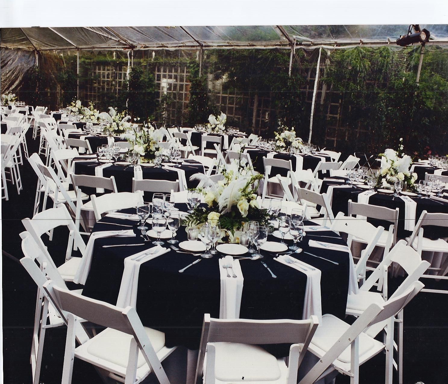 All Black Linens White Chairs Napkins