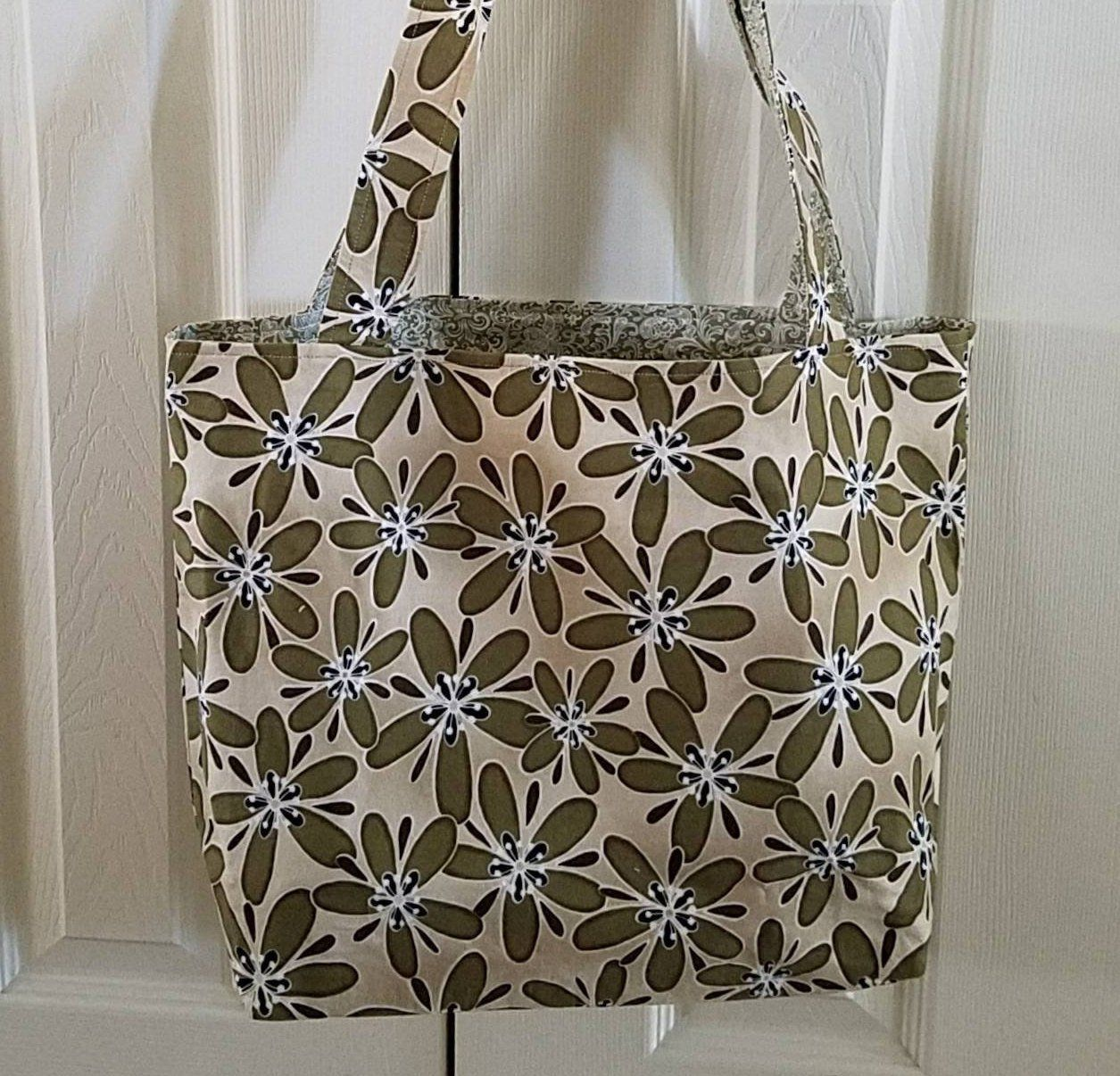 0b62696d73ec Market tote bag reusable shopping bag grocery bag tote handmade travel bag  olive green beige modern carryall floral fabric tote eco friendly by ...