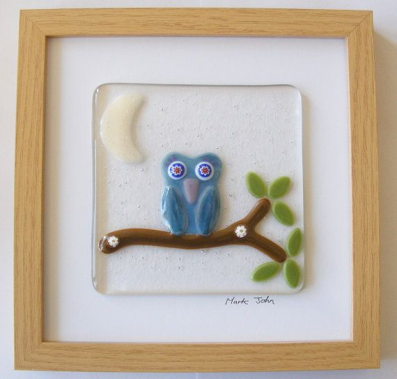 Fused Glass Wall Art Framed Picture - Owl on a Branch | Glass wall ...