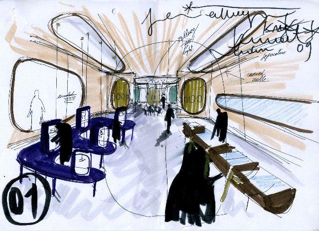 interiors sketch of the octium jewelry store in kuwait by spanish designer jaime hayn