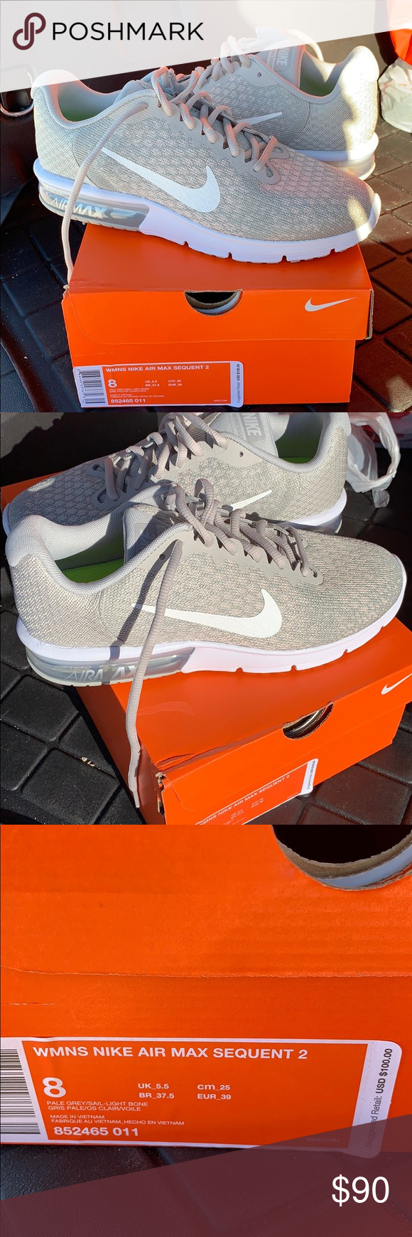 bc48f50b5 NWT Nike Air Max Sequent Size 8 NWT Nike AirMax Sequent 2. Size 8. Pale Grey /Sail-Light Bone Nike Shoes Athletic Shoes