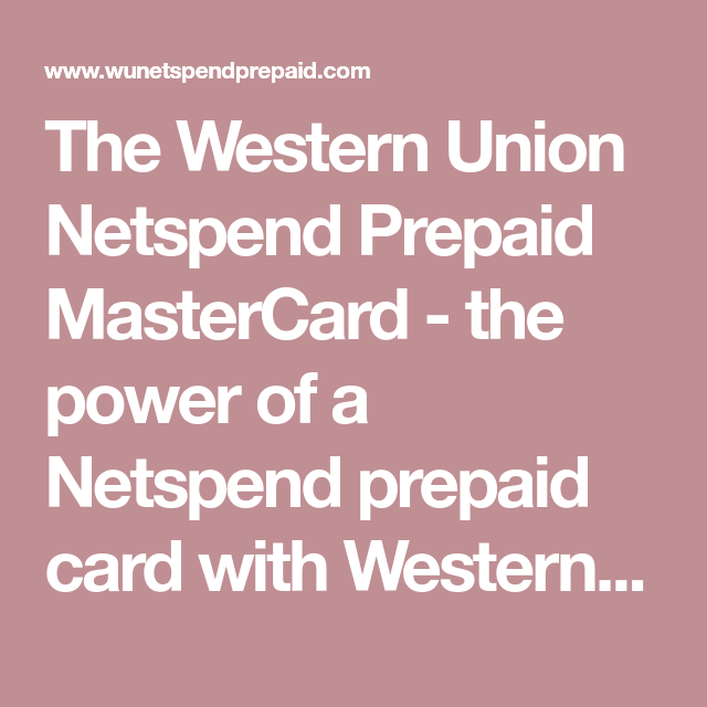 How To Add Money To Netspend Through Western Union