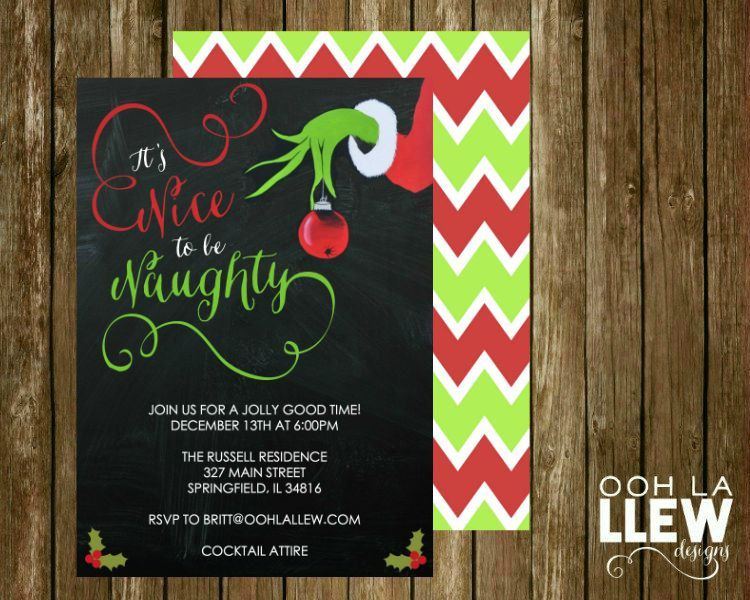 it u0026 39 s nice to be naughty grinch holiday party invitation by