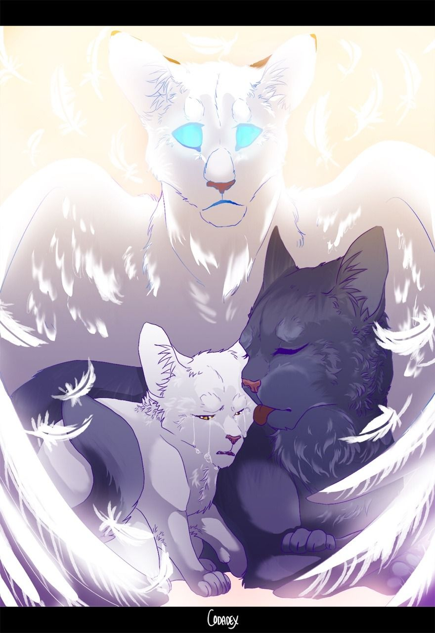 Bluefur Comforting Whitekit With Snowfur Looking On From Starclan