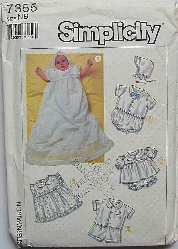 Tate.     Infants', Babies' Christening Wardrobe, Dress, Slip, Hat, Romper, Vest, Shirt, Simplicity 7355 Sewing Pattern Size Newborn
