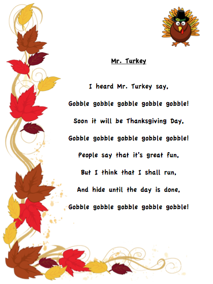 Grade ONEderful: I Heard Mr. Turkey Say poem | School | Pinterest ...