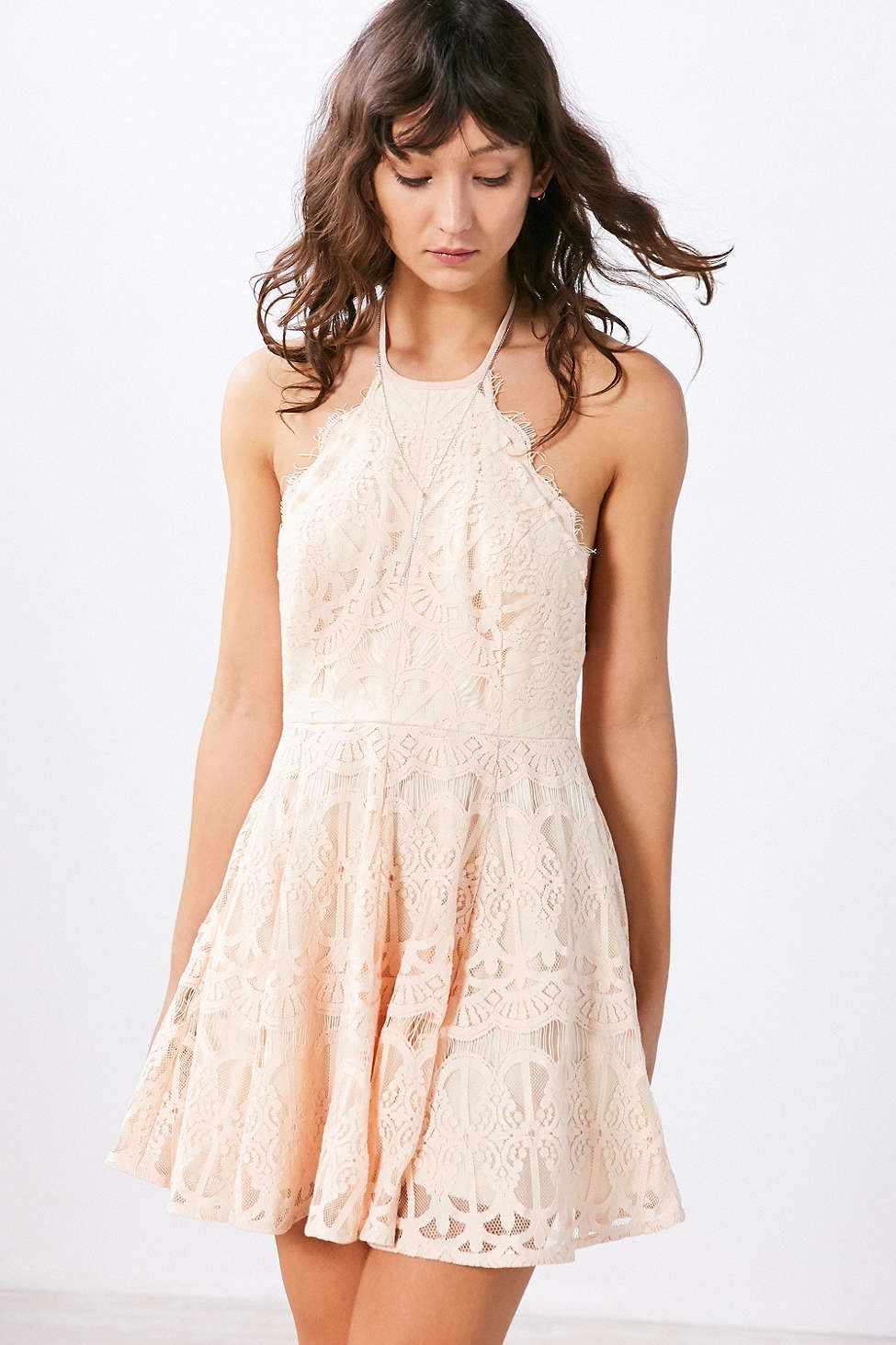 491c780f582a Glamorous Baroque Lace Fit + Flare Mini Dress Cream Wardrobes, Dresses For  Less, Short