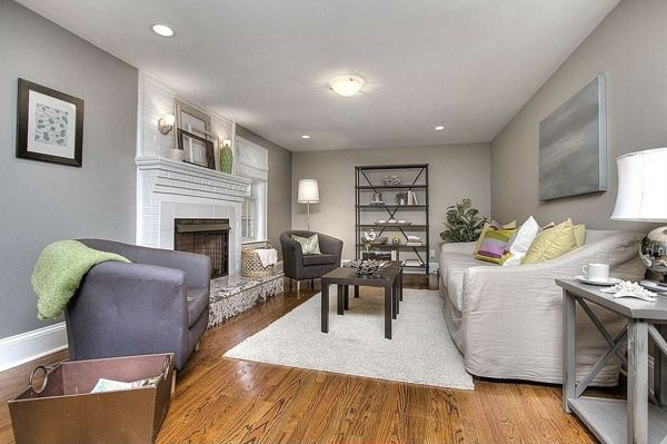 Cozy Atmosphere With Wood Floors And Light Gray Walls