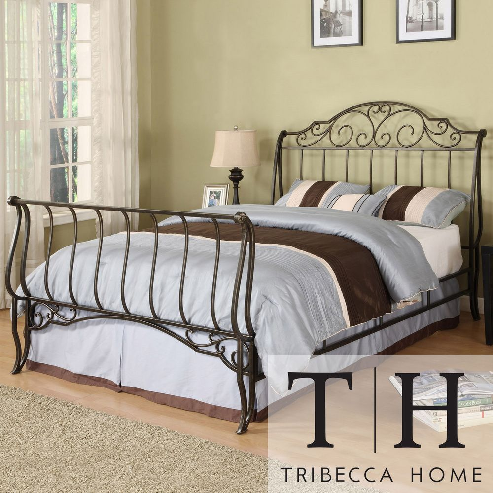 Camelia Graceful Scroll Bronze Iron Queen Size Sleigh Bed by iNSPIRE Q  Classic by iNSPIRE Q