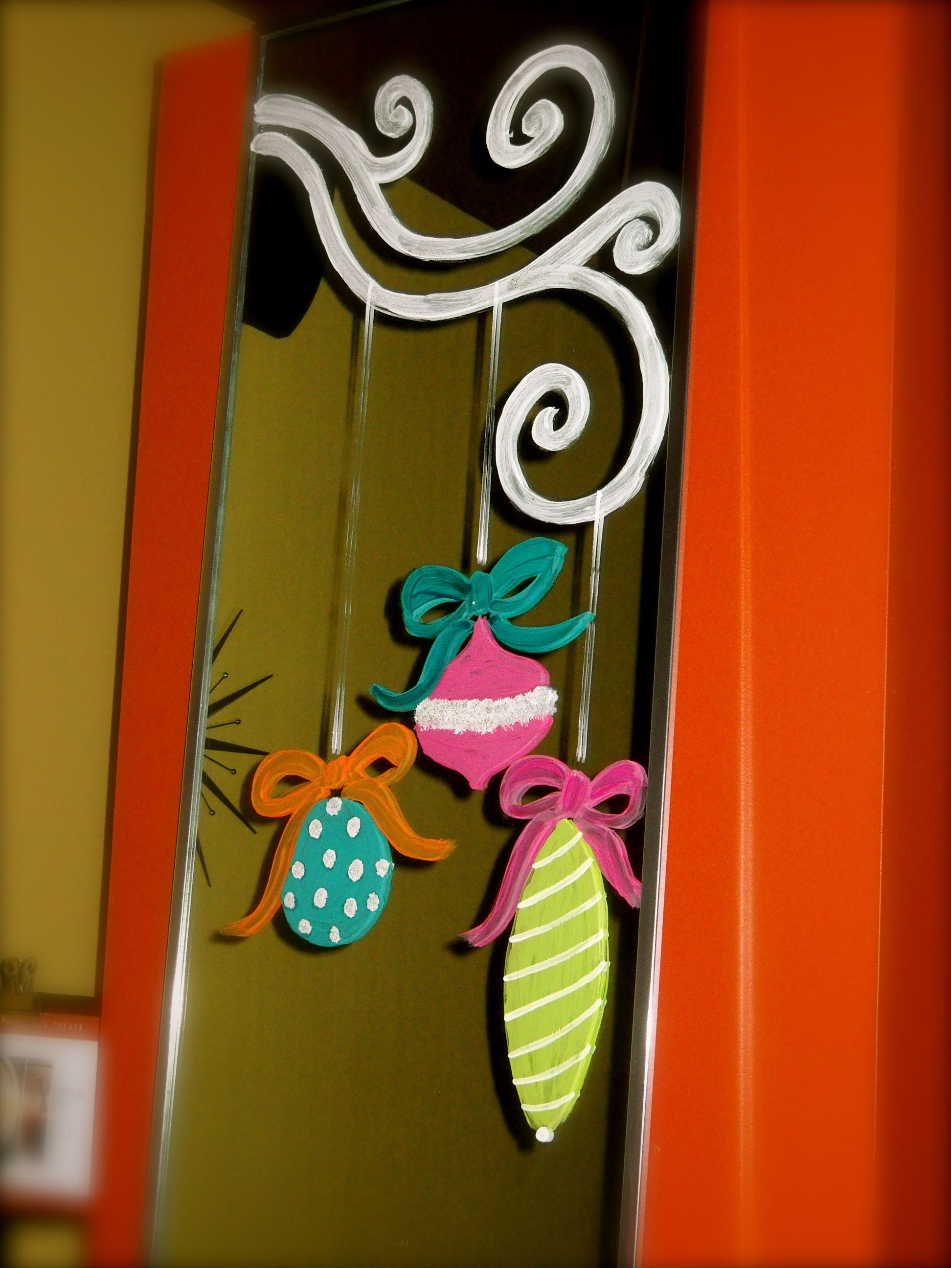 whimsical hand painted ornaments and twigs-commercial site