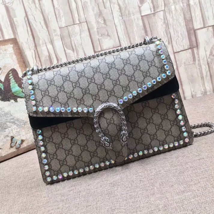 c8078a5a3f5 Gucci Dionysus GG Supreme Medium Shoulder Bag with Crystals 403348 Black  2017